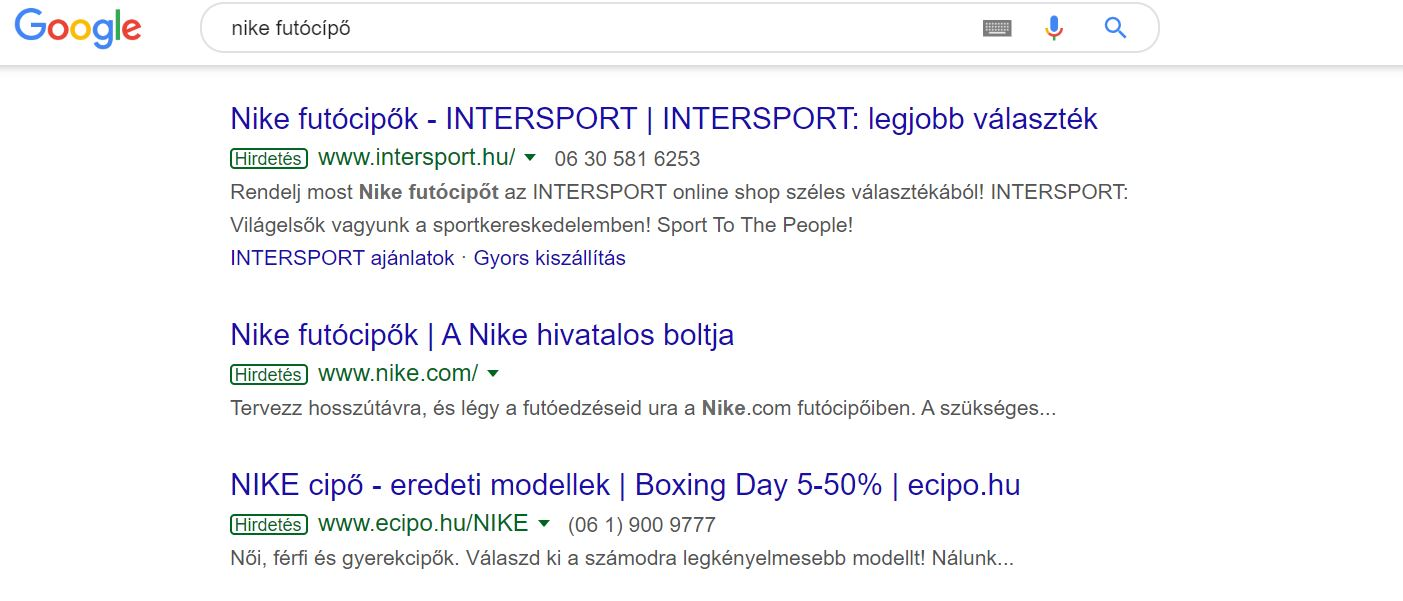 Google Shopping útmutató - search példa